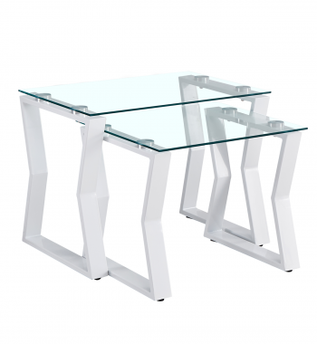 Kendal Tempered Glass Nest-of-Tables-White