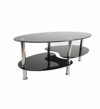 Lizzy Oval Shape Chrome and Black Glass Coffee Table
