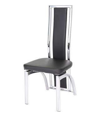 Mayfair High Back Faux Leather and Chrome Black Dining Chair