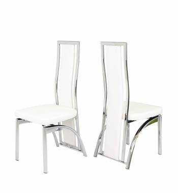 Mayfair white leather dining chair manchester furniture for White chrome dining chairs
