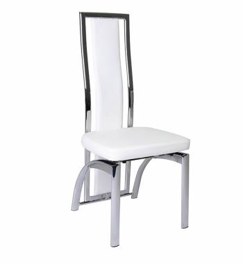 Mayfair High Back Faux Leather and Chrome White Dining Chair