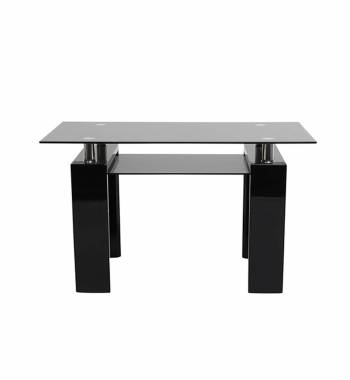 Metro 120 cm Black Glass and Black Gloss Dining Table