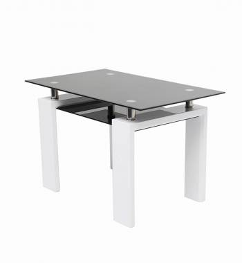 Metro 120 cm Black Glass and White Gloss Dining Table
