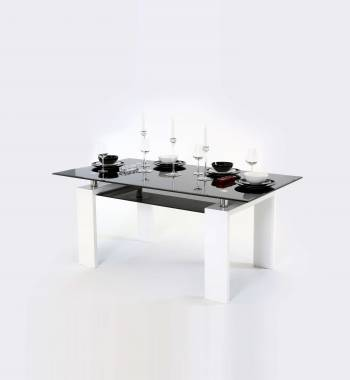 Metro 160 cm Black Glass and White Gloss Dining Table