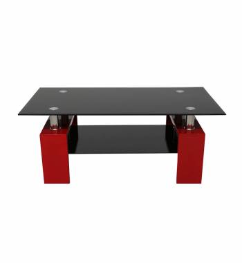 Metro Black Glass and High Gloss Red Coffee Table