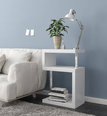 Miami White High Gloss 3 Tier Shelving Unit