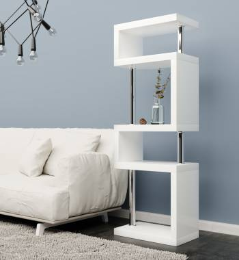Miami White Gloss 5 Tier Shelving Unit