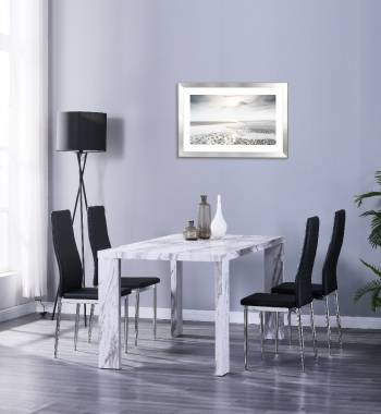 Miami 160cm Grey Marble Dining Table with 4 Prima Black PU Dining Chairs