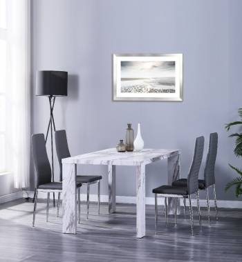 Miami 160cm Grey Marble dining Table with 4 Prima Grey PU Dining Chairs