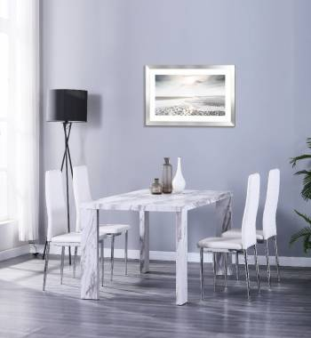 Miami 160cm Grey Marble Dining Table with 4 Prima White PU Dining Chairs