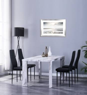 Miami 160cm Grey Marble Dining Table with 6 Vegas Black PU Dining Chairs