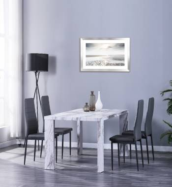 Miami 160cm Grey Marble Dining Table with 6 Vegas Grey PU Dining Chairs