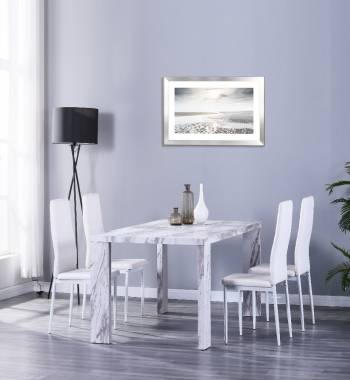 Miami 160cm Grey Marble Dining Table with 6 Vegas White PU Dining Chairs