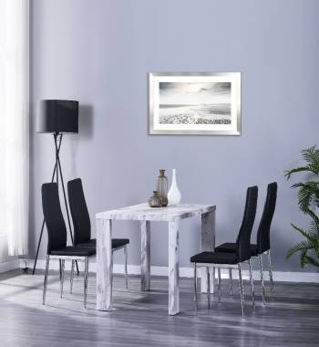 Miami 120cm Grey Marble Dining Table with 4 Prima Black PU Dining Chairs