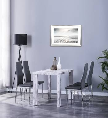 Miami 120cm Grey Marble dining Table with 4 Prima Grey PU Dining Chairs