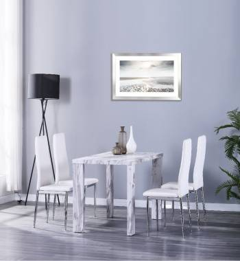 Miami 120cm Grey Marble Dining Table with 4 Prima White PU Dining Chairs