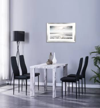Miami 120cm Grey Marble Dining Table with 4 Vegas Black PU Dining Chairs
