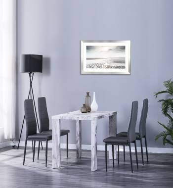 Miami 120cm Grey Marble Dining Table with 4 Vegas Grey PU Dining Chairs