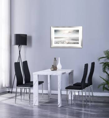 Miami 120cm White Marble Dining Table with 4 Prima Black PU Dining Chairs