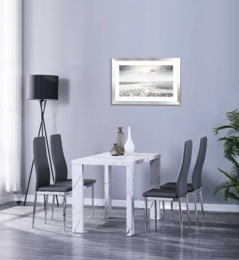 Miami 120cm White Marble Dining Table with 4 Prima Grey PU Dining Chairs