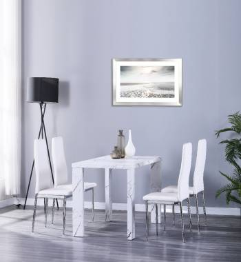 Miami 120cm White Marble Dining Table with 4 Prima White PU Dining Chairs