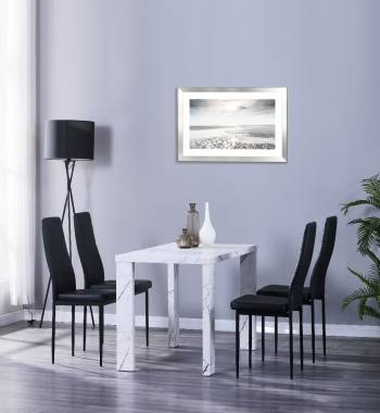 Miami 120cm White Marble Dining Table with 4 Vegas Black PU Dining Chairs