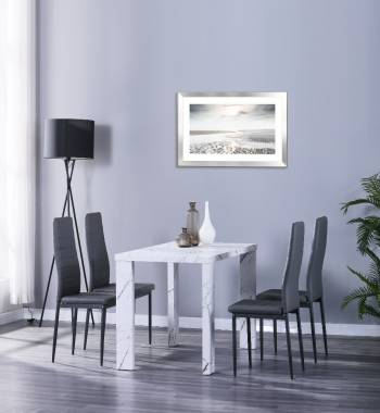 Miami 120cm White Marble Dining Table with 4 Vegas Grey PU Dining Chairs