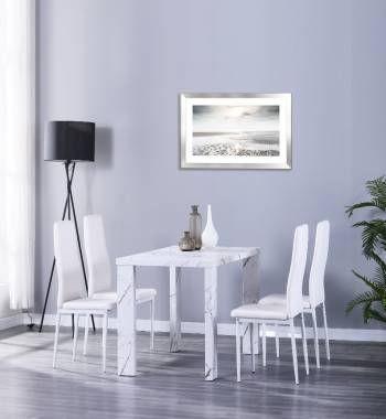 Miami 120cm White Marble Dining Table with 4 Vegas White PU Dining Chairs