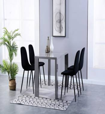 Miami High Gloss Grey Dining Table with 4 Alpine Chairs Plush Velvet Black