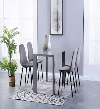 Miami High Gloss Grey Dining Table with 4 Alpine Chairs Plush Velvet Grey