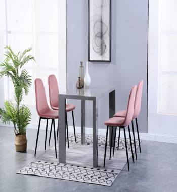 Miami High Gloss Grey Dining Table with 4 Alpine Chairs Plush Velvet Rose