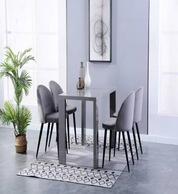 Miami High Gloss Grey Dining Table with 4 Candy Chairs Plush Velvet Grey