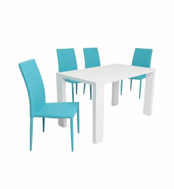 Miami White Dining Table with 4 Cuba Dining Chairs