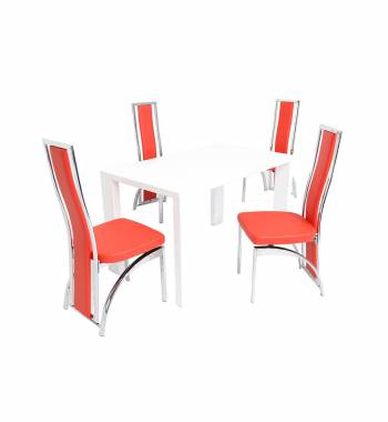 Miami White Dining Table with 4 Mayfair Dining Chairs