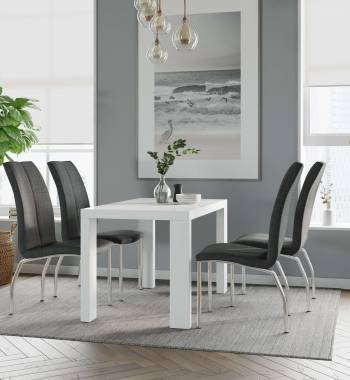 Miami White Dining Table with 4 Boston Charcoal Dining Chairs