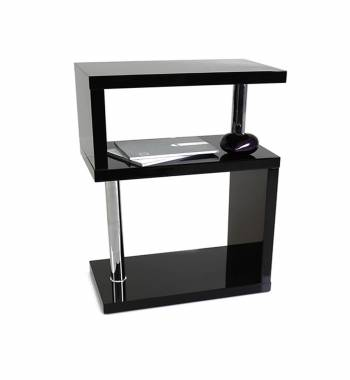 Miami Black High Gloss 3 Tier Shelving Unit