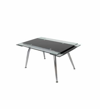 Micha Modern 125cm Extendable Black Glass Dining Table