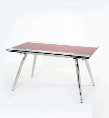 Micha Modern 125cm Extendable Red Glass Dining Table