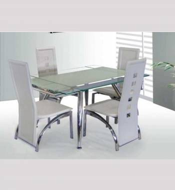 Micha Modern 125cm Extendable White Glass Dining Table