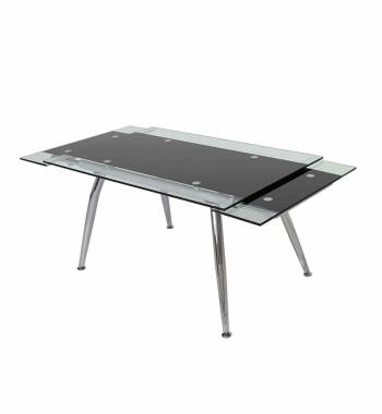 Micha Modern 175cm Extendable Black Glass Dining Table