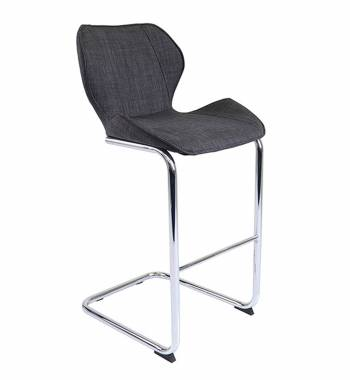 Milano Fabric and Chrome Breakfast Bar Chair Charcoal