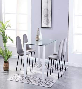 Milano Clear Glass White Dining Table with 4 Alpine Plush Velvet Dining Chairs Grey