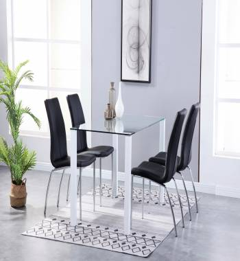 Milano Clear Glass White Dining Table with 4 Boston Faux Leather Dining Chairs Black