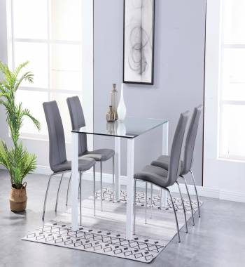 Milano Clear Glass White Dining Table with 4 Boston Faux Leather Dining Chairs Grey