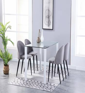 Milano Clear Glass White Dining Table with 4 Candy Plush Velvet Dining Chairs Grey