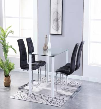 Milano Dining Table Clear Glass and White with Newyork Black