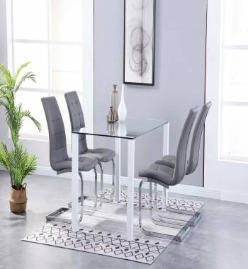 Milano Clear Glass White Dining Table with 4 Newyork Cantilever Chairs Grey
