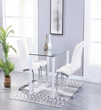 Milano Clear Glass White Dining Table with 4 Newyork Cantilever Chairs White