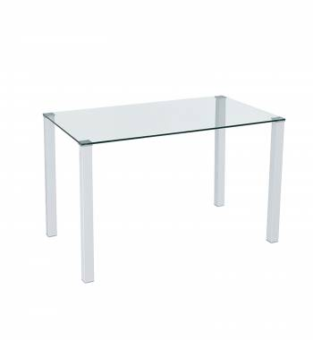 Milano Clear Glass and White Dining Table
