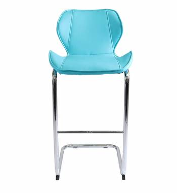 Milano Faux Leather and Chrome Breakfast Bar Chair Aqua Blue